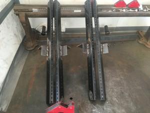 Custom welded rack rails front view.